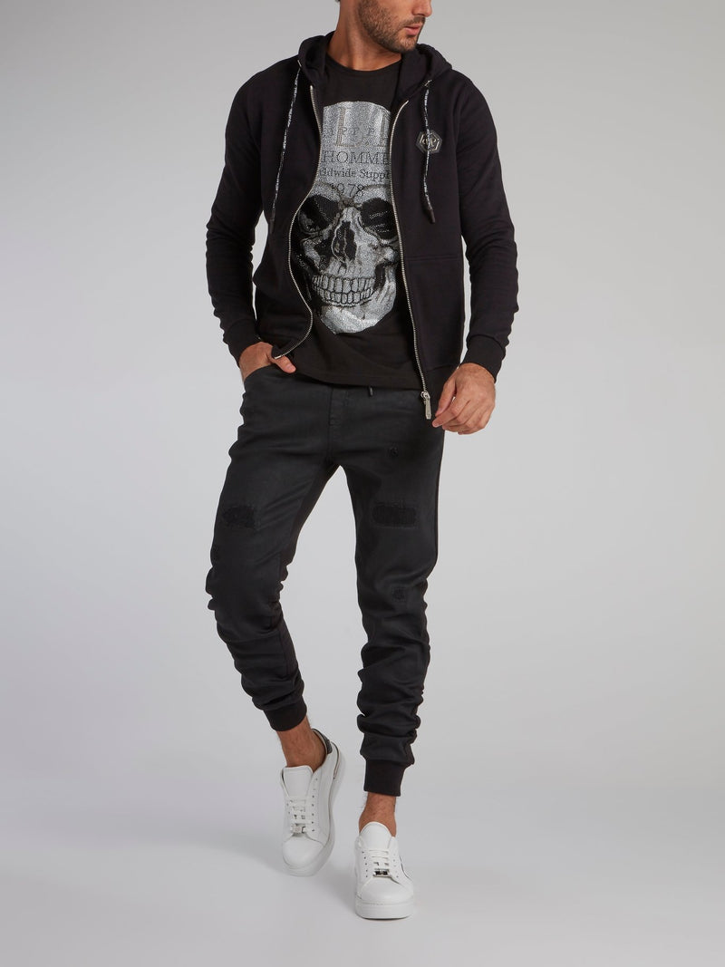 Black Studded Skull Sweat Jacket