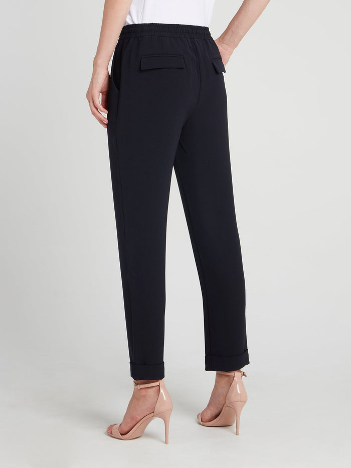 Navy Drawstring Straight Cut Pants
