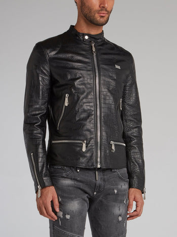 Crocodile Effect Leather Moto Jacket