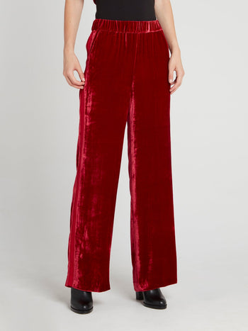 Burgundy Velvet Wide Leg Pants