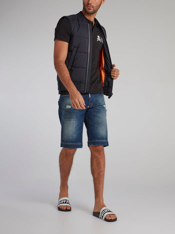 Navy Zip Up Quilted Vest