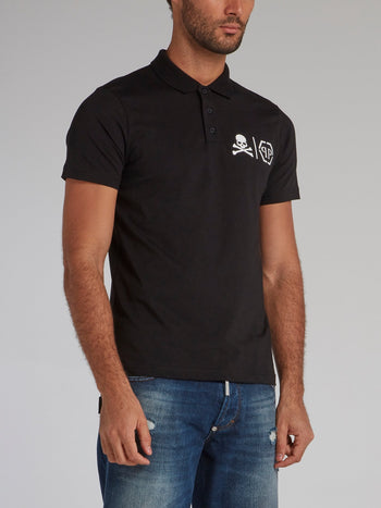 Black Skull Monogram Polo Shirt