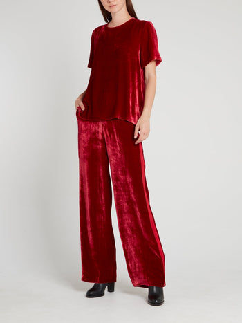 Burgundy Keyhole Back Velvet Top