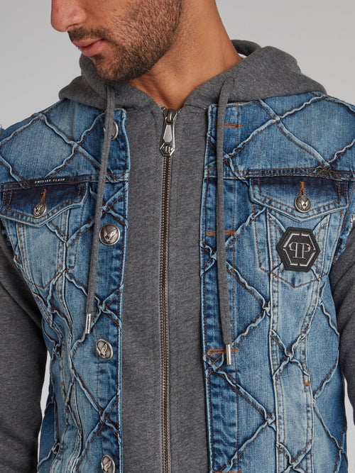 Blue Denim Panel Zip Up Jacket