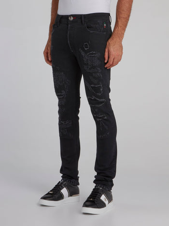 Black Tattered Slim Fit Jeans