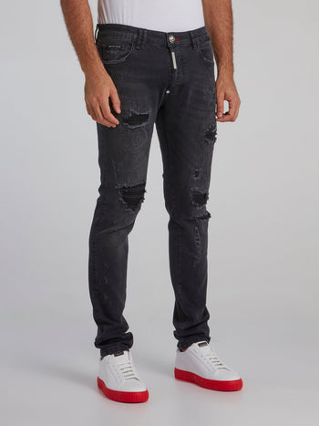 Black Stone Wash Denim Jeans
