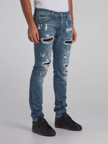 Blue Stone Wash Distressed Jeans