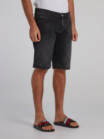 Black Faded Denim Bermudas