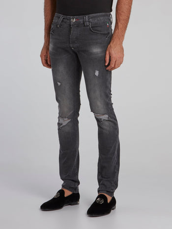 Grey Wash Tattered Jeans