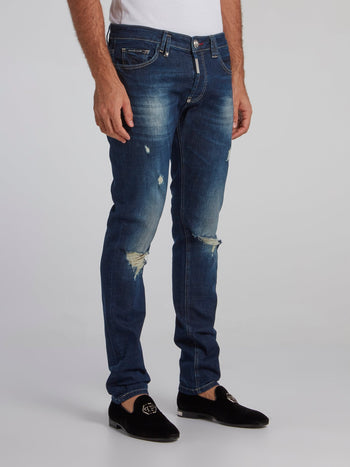 Dark Wash Tattered Jeans