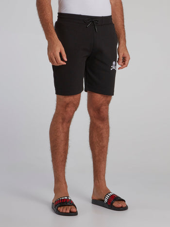 Black Skull Print Jogging Shorts