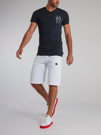 White Appliquéd Knee Length Shorts
