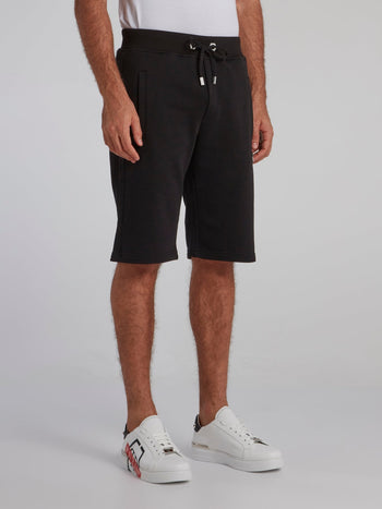 Black Appliquéd Knee Length Shorts
