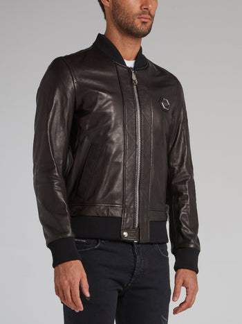Black Skull Leather Bomber Jacket