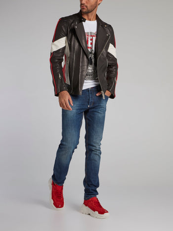 P.L.N. Skull Leather Biker Jacket