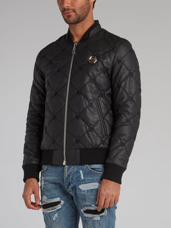 Skull Quilted Leather Bomber Jacket
