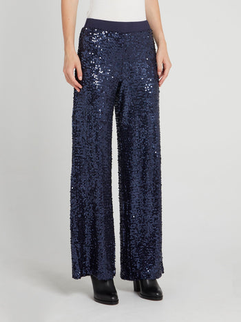 Navy Sequin Wide Leg Pants