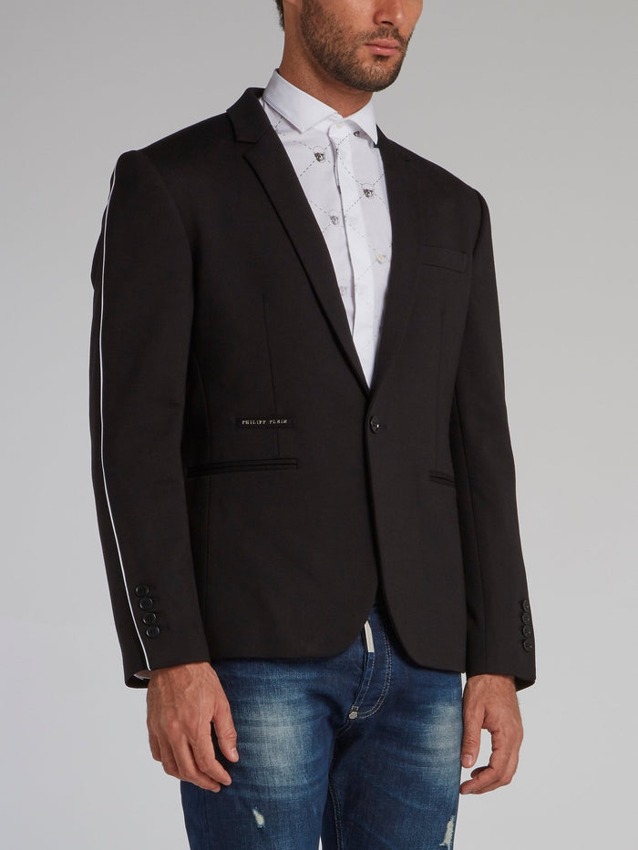 Black Rear Embroidered Logo Blazer