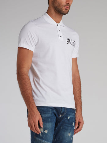 White Skull Monogram Polo Shirt