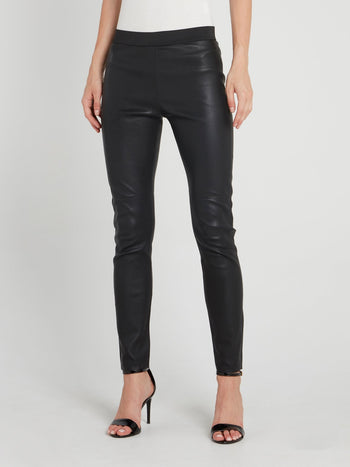Black Elastic Waist Leather Pants
