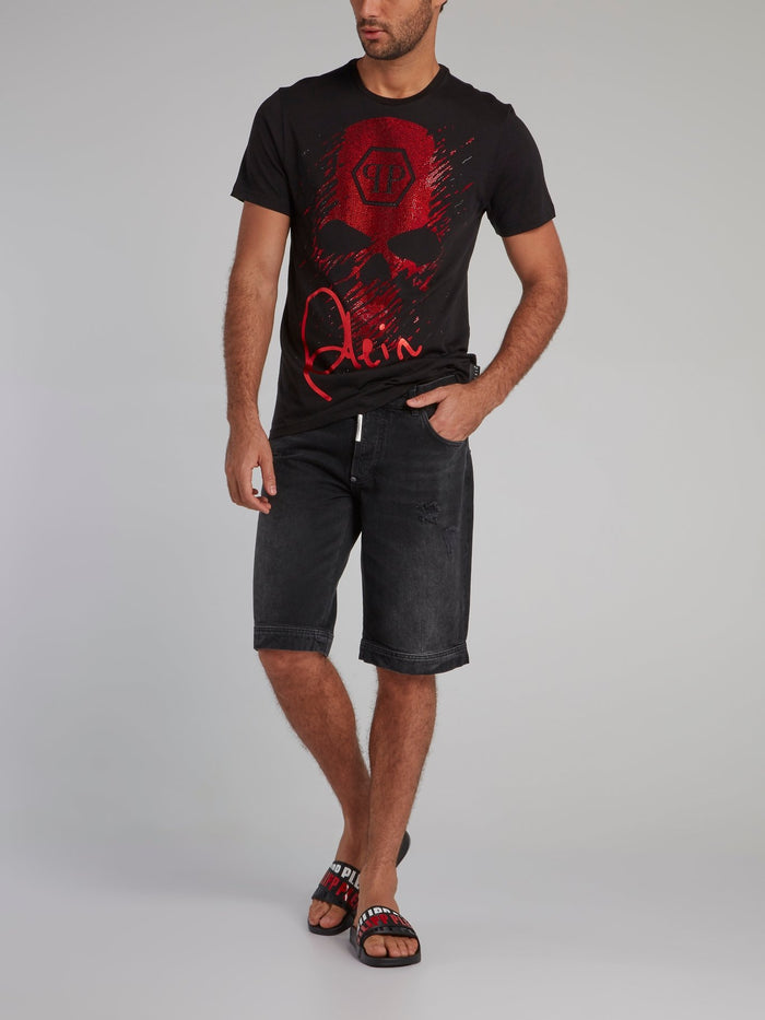 Black with Red Studded Statement T-Shirt