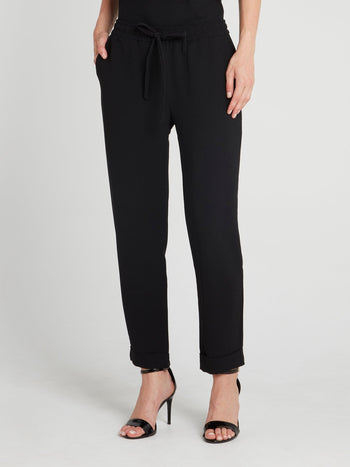 Black Drawstring Straight Cut Pants