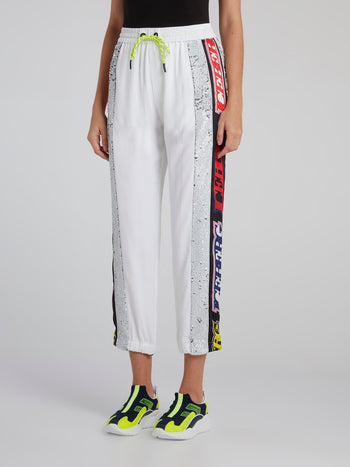 White Logo Tape Tunnel Crop Trousers