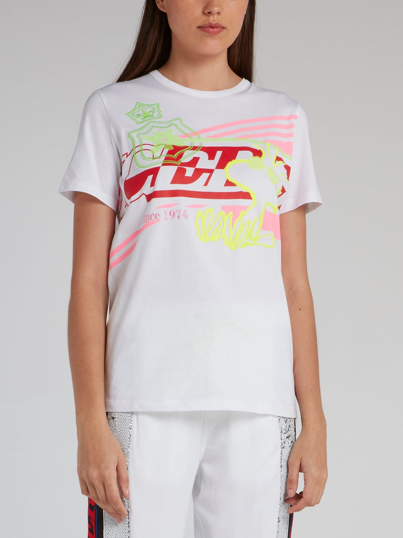 White Embroidered Statement T-Shirt