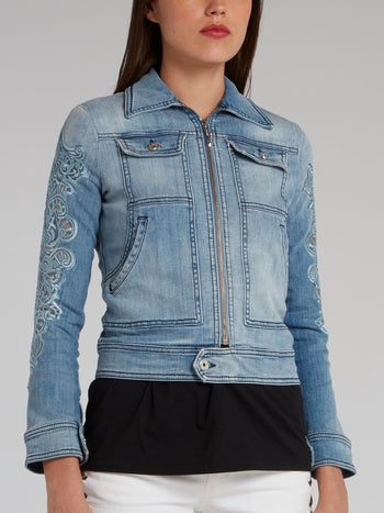 Detailed Sleeve Zip Up Denim Jacket