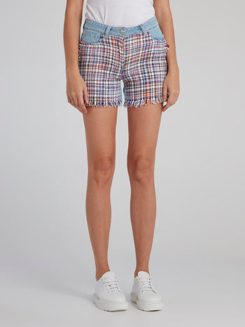 Tweed Panel Frayed Denim Shorts