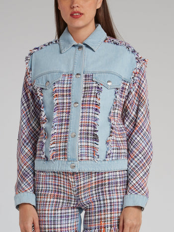 Tweed Panel Frayed Denim Jacket