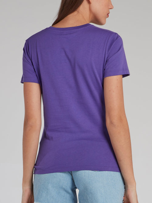Purple Logo Appliquéd T-Shirt