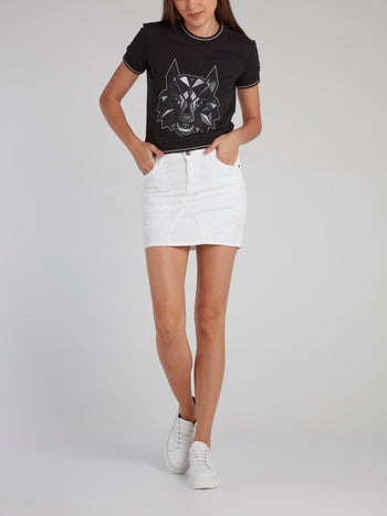 White Distressed Pencil Skirt