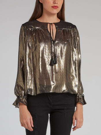 Gold Metallic Tassel Detail Top