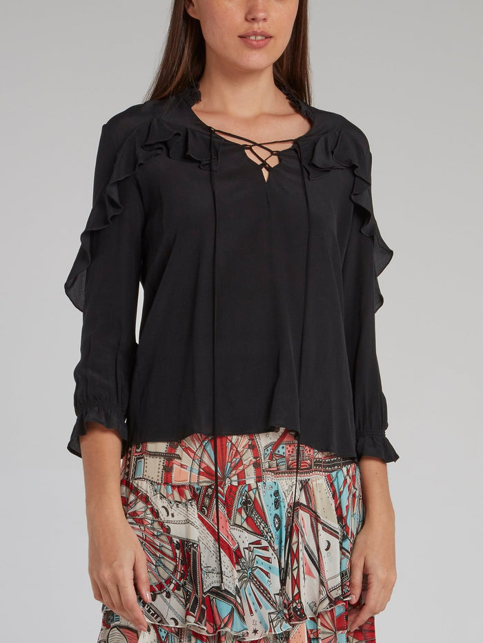 Black Lace Up Frill Top