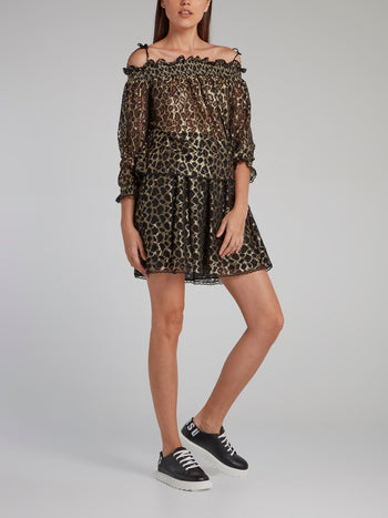 Gold Off-The-Shoulder Leopard Mesh Top