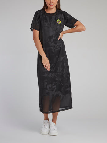 Black Appliquéd Overlay Jersey Dress