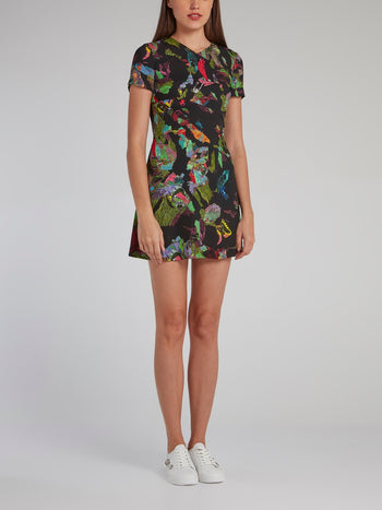 Abstract Print Embellished Mini Dress