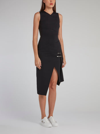 Black Asymmetric Jersey Dress