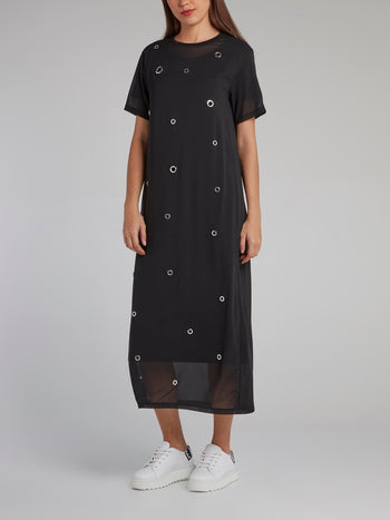 Black Ring Embellished Overlay Jersey Dress