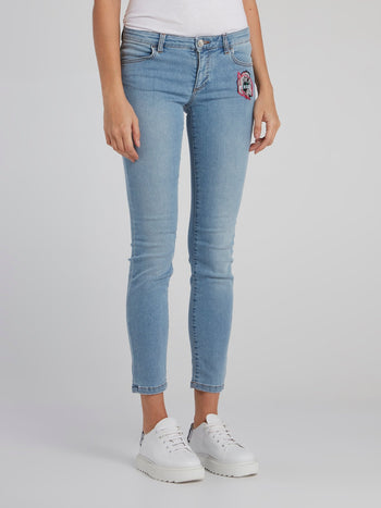 Blue Appliquéd Crop Jeans