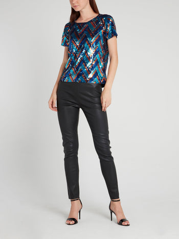 Blue Sequin Chevron Top
