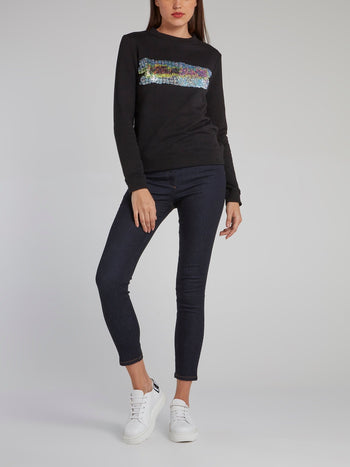 Black Sequin Logo Sweatshirt