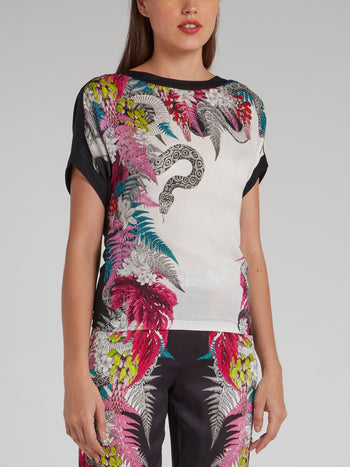 Flora and Fauna Print Crewneck Top