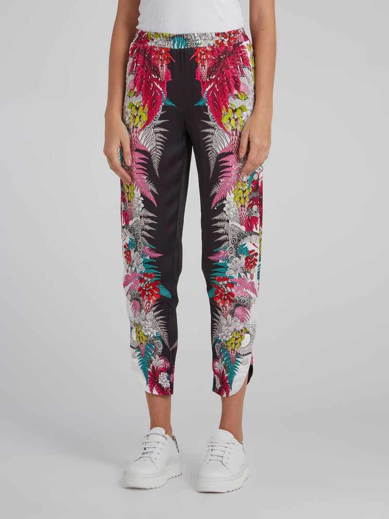 Tropical Print Cropped Harem Pants
