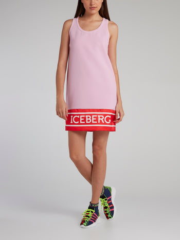 Pink Logo Hem Shift Dress