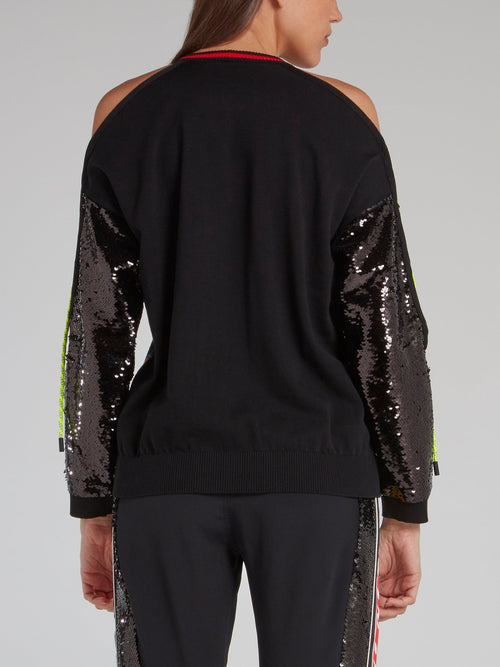 Logo Sequin Sleeve Knitted Top