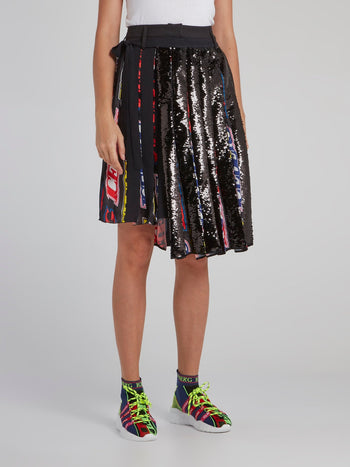 Black Pleated Sequin Asymmetric Skirt