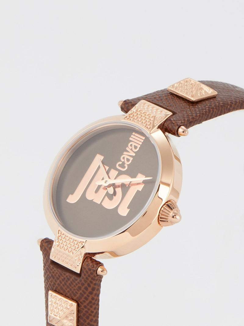 Just Mio Brown Logo Dress Watch