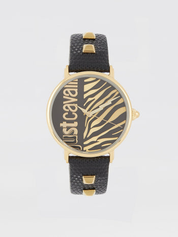 Black Zebra Effect Leather Watch